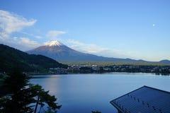 Fuji Mountain at lake Kawaguchi, Japan. Fuji Mountain with snow cap at lake Kawaguchi, Japan. During early morning time stock image