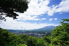 Fuji Mountain at lake Kawaguchi, Japan stock images