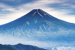 Fuji Mountain Summit in Summer. Fuji Mountain is the most tallest mountain in japan. there is no snow cap on the top in summer stock image