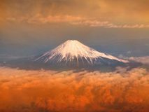 Fuji mountain in sunset. Aerial view of Fujisan, the famous Japan volcano