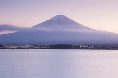 Fuji Mountain during sunset at lake Kawakugigo front royalty free stock images