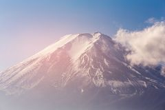 Fuji mountain top view close up. Natural landscape background, Japan Stock Photography