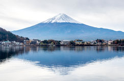 Fuji mountain under cloudy sky. Fuji mountain with surrounding view under cloudy sky in Japan Stock Photography