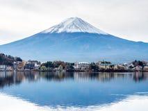 Fuji mountain under cloudy sky. Fuji mountain with surrounding view under cloudy sky in Japan Stock Photos