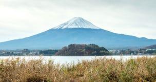 Fuji mountain under cloudy sky. Fuji mountain with surrounding view under cloudy sky in Japan Royalty Free Stock Photo