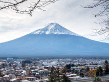 Fuji mountain under cloudy sky. Fuji mountain with surrounding view under cloudy sky in Japan Stock Images