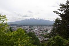Fuji mountain viewed from behind Chureito Pagoda Royalty Free Stock Images