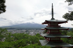 Fuji mountain viewed from behind Chureito Pagoda Stock Photos