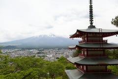 Fuji mountain viewed from behind Chureito Pagoda Stock Photo