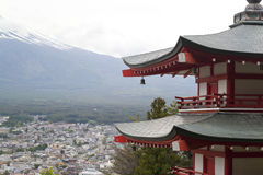 Fuji mountain viewed from behind Chureito Pagoda Stock Photo