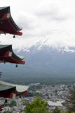 Fuji mountain viewed from behind Chureito Pagoda Royalty Free Stock Image