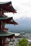 Fuji mountain viewed from behind Chureito Pagoda Stock Photography
