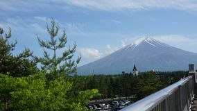 Fuji Mountain with white cap surrounded by conifer forest stock photos