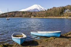 Fuji Mountain from Yamanaka Lake in Japan Stock Photo