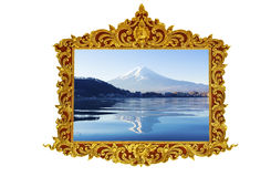 Fuji mt. in old antique gold frame Stucco walls greek culture roman vintage style pattern line design for border isolated on white Stock Photos