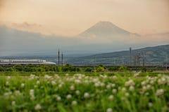 Fuji och Tokaido Shinkansen, Shizuoka, Japan Royaltyfri Foto