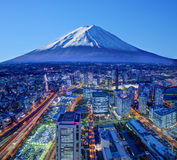 Fuji och Yokohama Arkivbild