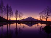 Fuji overdenkt een vijver Royalty-vrije Stock Foto's