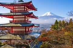 Fuji and Pagoda Stock Photo