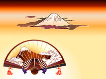 Fuji-san folding fan. Fuji-san sensu (folding fan) and Mt. Fuji at the cloudy sunset in ukiyo-e style Royalty Free Stock Images