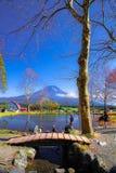 FUJI SHEETS OF AUTUMN SUNSET THE BEAUTIFUL MOUNT royalty free stock photo