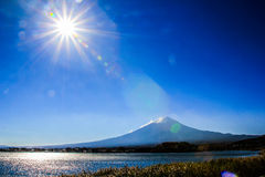 Fuji Sunlight. Nice Sunlight and lake at Fuji Mountain in Japan stock photography