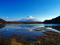 Fuji from Syoji Lake. View of Fuiji Mountain in Japan from Syoji Lake in late summer Stock Photos