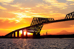 Fuji and Tokyo Gate Bridge at sunset Stock Photos
