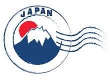Fuji Torii and Japan stamp style on white background . stock illustration