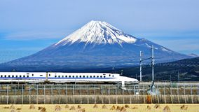 Fuji and Train Royalty Free Stock Photos