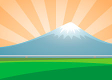 Fuji volcano landscape on the background sunburst day Royalty Free Stock Photo