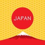 Fuji wulkan Japonia na złocistym Japońskim tle royalty ilustracja