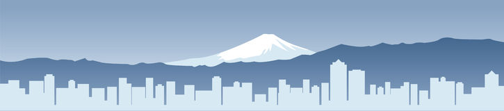 Fuji y ciudad moderna de Japón Foto de archivo