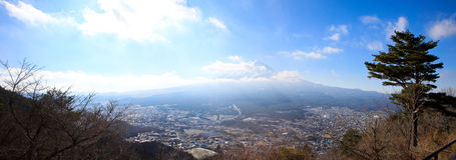 Fuji zet in daglicht op Stock Foto