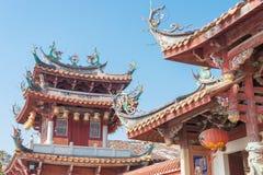 FUJIAN, CHINA - 28 de diciembre de 2015: Palacio de Tianhou (Tian Hou Gong) un fa Foto de archivo libre de regalías