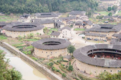 FUJIAN, CHINA - Jan 04 2016: Hekeng Tulou Cluster at Tianloukeng Stock Images