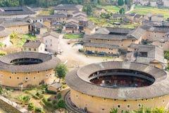 FUJIAN, CHINA - Jan 04 2016: Hekeng Tulou Cluster at Tianloukeng Royalty Free Stock Photography