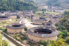 FUJIAN, CHINA - Jan 04 2016: Hekeng Tulou Cluster at Tianloukeng Royalty Free Stock Image