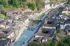 FUJIAN CHINY, Jan 02 2016, -: Taxia wioska przy Tianloukeng Tulou Fotografia Stock