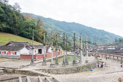 FUJIAN KINA - Januari 02 2016: Deyuan Ancestral Temple (Deyuantang) Arkivbild