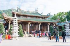 FUJIAN KINA - Januari 07 2016: Södra Putuo tempel (den Nanputuo templet) Royaltyfri Foto