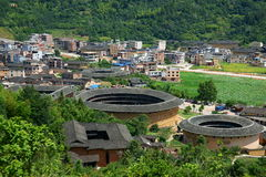 Fujian Tulou. Is a type of Chinese rural dwellings of the Hakka and Minnan people in the mountainous areas in southeastern Fujian, China. They were mostly built Stock Photo