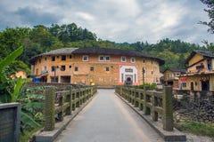 Fujian Tulou : Cour traditionnelle chinoise de maisons Photos stock