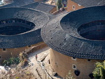 Fujian Tulou-special architecture of China. The Earth Tower of Hakka in Fujian, China whcih has over one thousand years history. In the past,  in order to Stock Image
