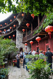 Fujian Tulou and Visitors Stock Images
