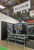 Fujifilm booth during CEE 2017 in Kiev, Ukraine Royalty Free Stock Photography