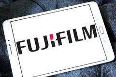 Fujifilm logo. Logo of camera manufacturer fujifilm on samsung tablet stock images