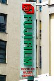 FUJIFILM logo. Wiesbaden, Germany - June 03 2018: FUJIFILM logo on a facade. Founded in 1934, Fujifilm Holdings Corporation is a Japanese multinational stock images