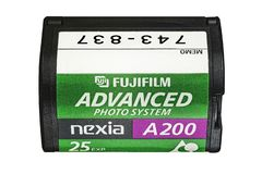 Fujifilm Posuwał się naprzód fotografia systemu nexia A200 25 exp film obraz stock