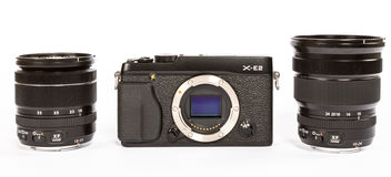 FUJIFILM X-E2 mirrorless camera with FUJINON LENS XF18-55mm F2.8-4 AND 10-24mm F4 Stock Photo